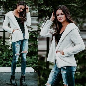 Jackets & Blazers - White Fleece Hoodie Jacket